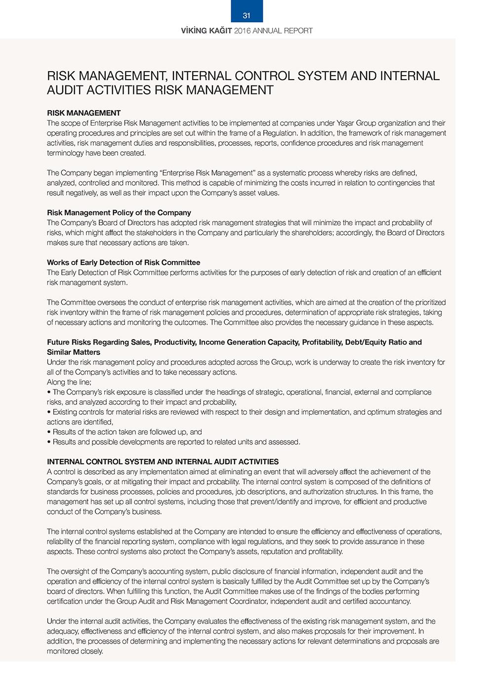 Risk Management, Internal Control System and Internal Audit