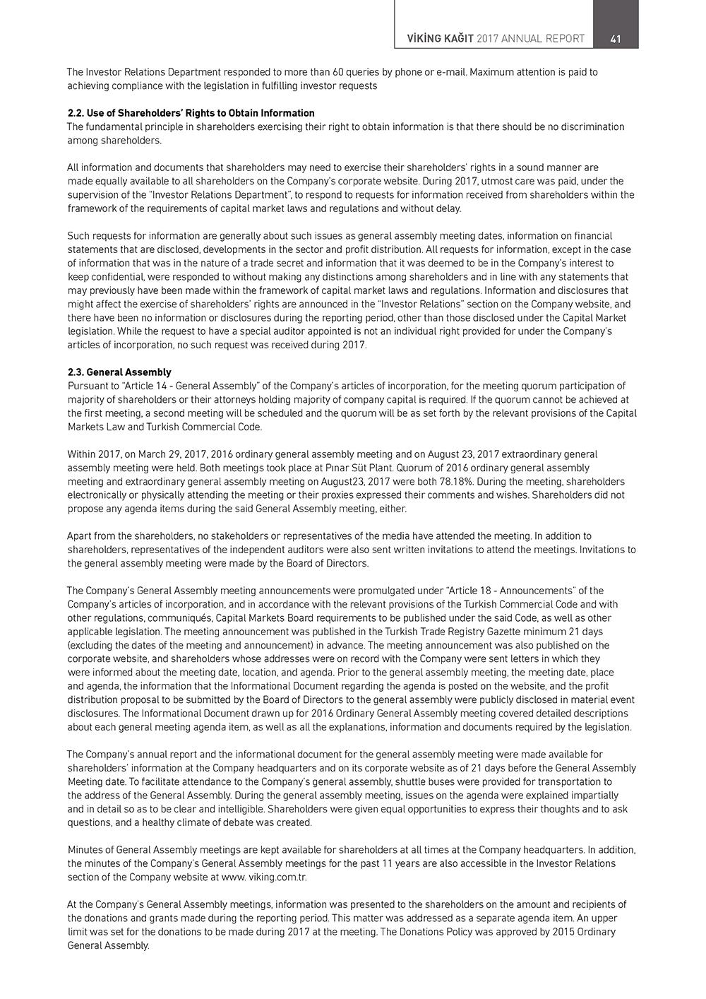 Corporate Governance Principles Compliance Report – Viking Kağıt